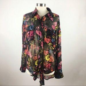 BB Dakota Black Colorful Floral Sheer Tunic Top
